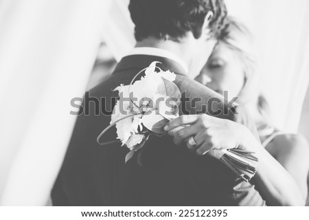 Wedding, Beautiful Bride and Groom Embracing - stock photo
