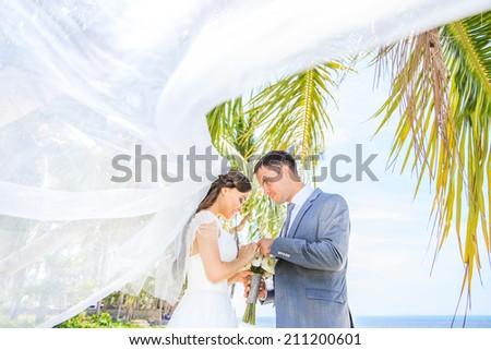 Wedding. Beautiful couple on the beach - stock photo
