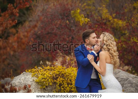 Wedding, Beautiful Romantic Bride and Groom Kissing and Embracing outdoors in nature. wedding kiss. Young newly married couple posing. Together - stock photo