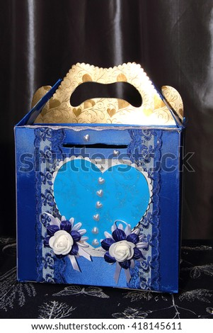 Wedding blue and white box for money - stock photo