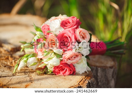 Wedding bouquet close-up, marriage flowers wedding decoration. soft focus at sunset - stock photo