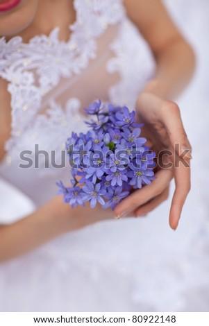 Wedding bouquet from purple anemones - stock photo