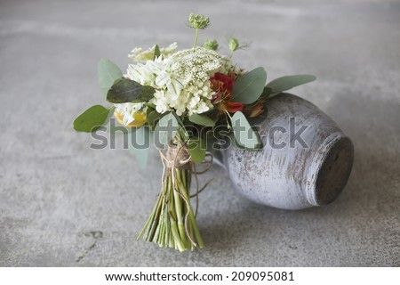Wedding bouquet in a rustic style  - stock photo