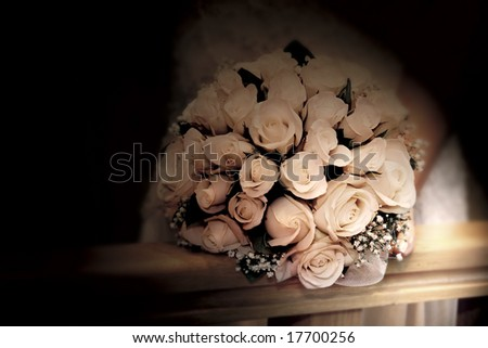 wedding bouquet in sepia tones - stock photo