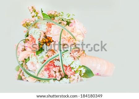 wedding bouquet isolated - stock photo