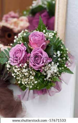 Wedding bouquet made from roses and gypsophila