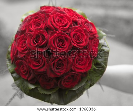 wedding bouquet made of grand prix roses - stock photo