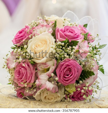 wedding bouquet of beautiful roses - stock photo