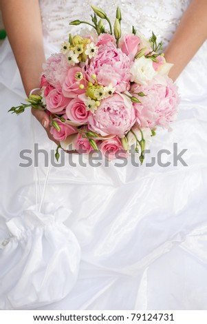 wedding bouquet of pink and white flowers - stock photo