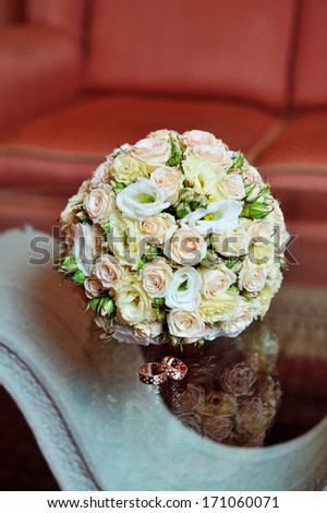 Wedding bouquet of pink and white  roses. - stock photo