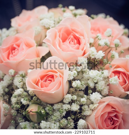 wedding bouquet of pink roses - stock photo