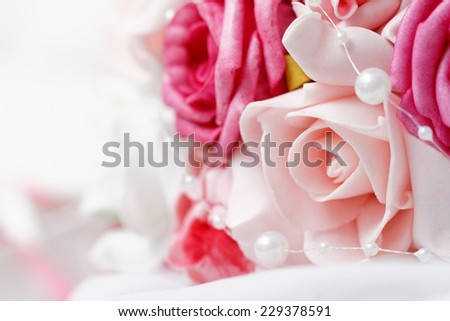 Wedding bouquet of pink roses - closeup photo