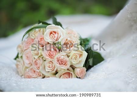 Wedding bouquet of roses - stock photo