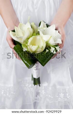 wedding bouquet of white lilies - stock photo