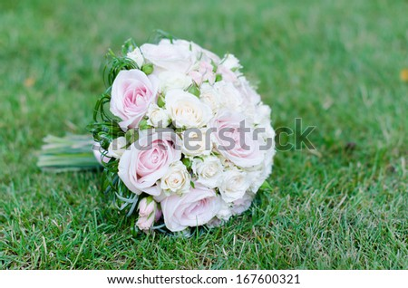Wedding bouquet of white roses - stock photo