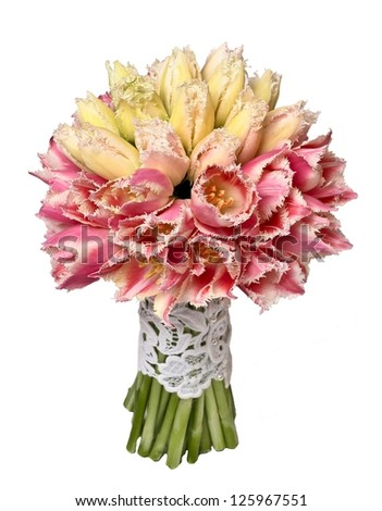 Wedding bouquet of yellow and pink tulips isolated on white - stock photo