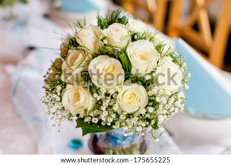 wedding bouquet on table - stock photo