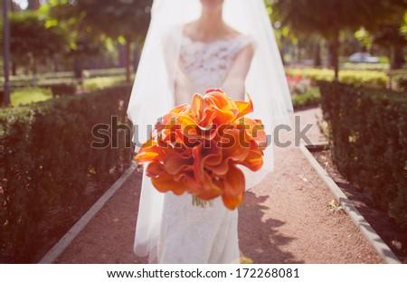 wedding bouquet orange calla - stock photo