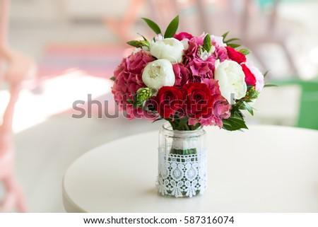 Wedding Bouquet Roses Peonies Glass Vase Stock Photo Royalty Free