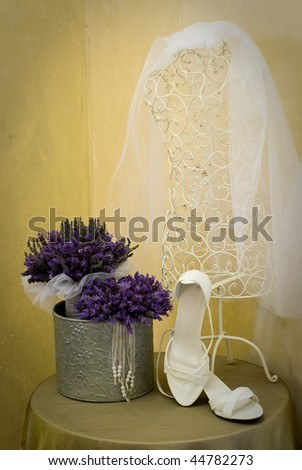 Wedding bouquet, shoes and vale still life - stock photo