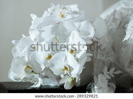 Wedding bouquet , white orchids - stock photo