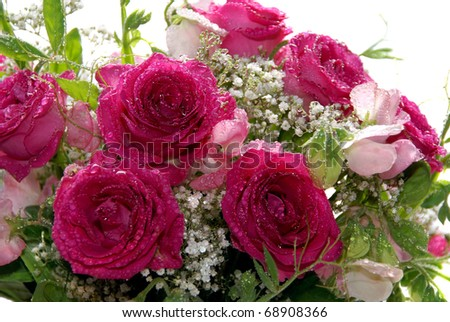 Wedding bouquet with pink roses, white gypsophila, and sweet peas. - stock photo