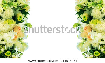 Wedding bouquet with rose and carnation on white background - stock photo