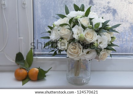 wedding bouquet with rose and lisianthus - stock photo
