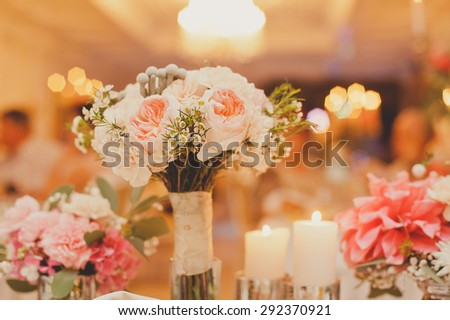 Wedding bouquet with tender pink flowers - stock photo