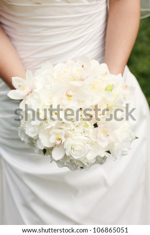 Wedding Bouquet with White Roses and White Orchids - stock photo