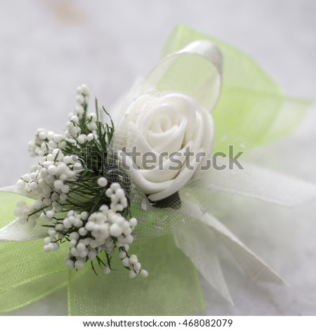 wedding boutonniere  on table, close up