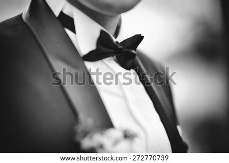 wedding bow tie of groom - stock photo