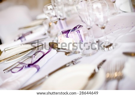 Wedding Breakfast Table Layout And Gifts - stock photo