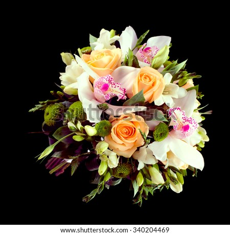 Wedding bridal bouquet. Orchids, roses. isolated.