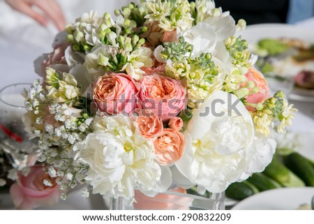 Wedding bridal bouquet with gentle pink and white peonies  - stock photo