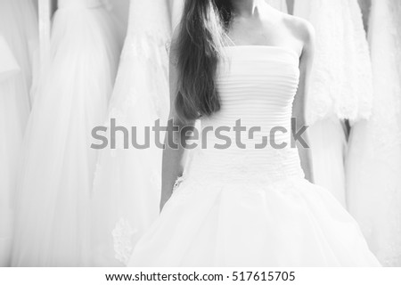 Wedding bridal white dress in the showroom, fashion, abstract, shallow focus, textile, texture white and black