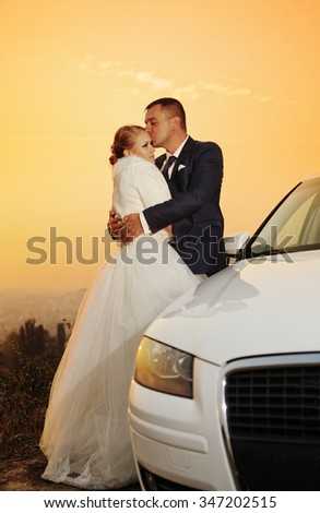 Wedding. Bride and Groom  at sunset - stock photo