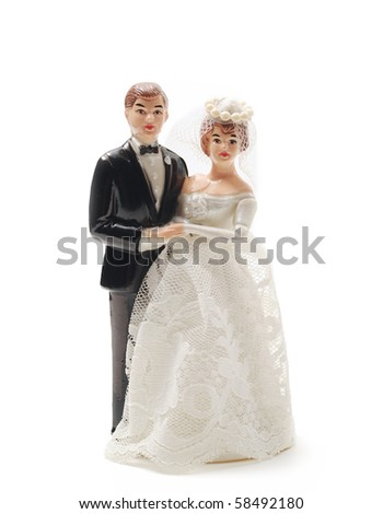 wedding bride and groom couple doll isolate on white background - stock photo