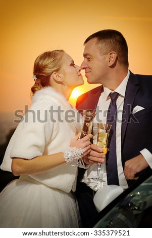 Wedding. Bride and Groom  kissing at sunset - stock photo