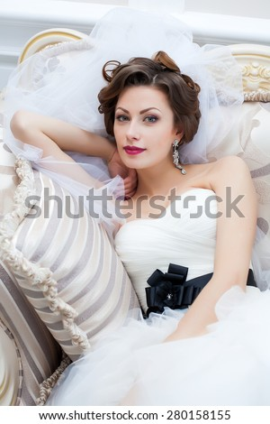 wedding bride fiancee isolated interior  - stock photo