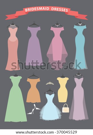 Wedding bridesmaid dresses in pastel colors.Fashion illustration,flat style.Dresses hang on ribbons.Composition with dresses,high heel shoes on grey background. Fashion set,holiday Illustration - stock photo