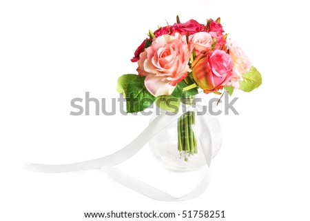 wedding bunch of flowers on a white - stock photo