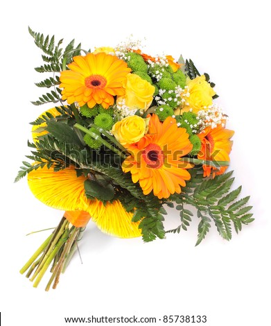 Wedding bunch of flowers on a white background. - stock photo