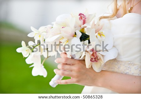 wedding bunch with orchids - stock photo
