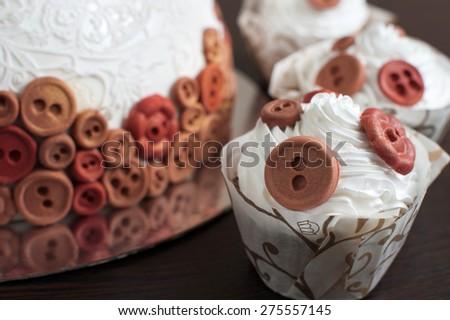 Wedding cake. Candy bar on a dark background. - stock photo