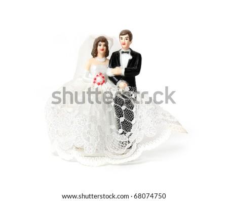 Wedding cake figures - stock photo