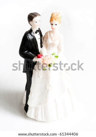 wedding cake figurines - stock photo