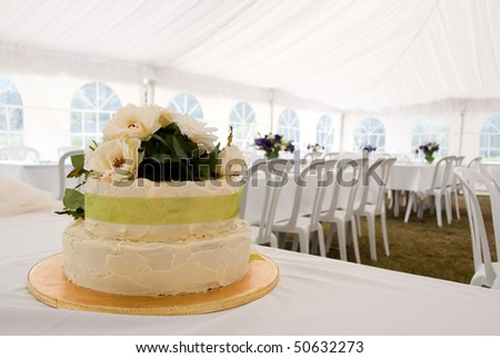 Wedding cake in marquee - stock photo