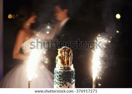 Wedding cake in the restaurant on the wedding celebration - stock photo