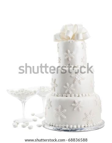 Wedding Cake Isolated On White Background - stock photo